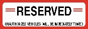 Reserved Parking Space Sign