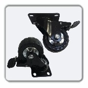 "3"" Double Locking Swivel Caster with mounting plate. Double ball raceway in swivel head. Central Precision ball bearing in wheel with dust caps. Zinc plated."