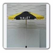 Aluminum frame umbrella and VALET LETTERING (3 Panels) Black Only